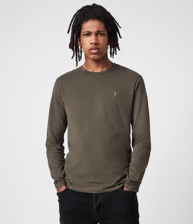 AllSaints Men's Brace Long Sleeve Crew T-Shirt, Balkan Green, Size: XXL