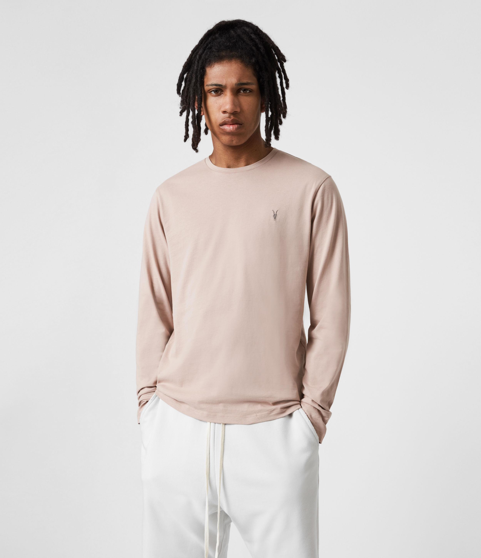 AllSaints Men's Brace Long Sleeve Crew T-Shirt, Balsa Stone Pink, Size: M