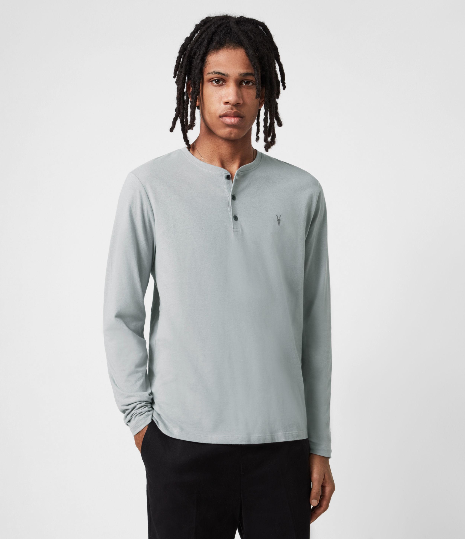 AllSaints Mens Brace Henley Top, Heath Grey, Size: M