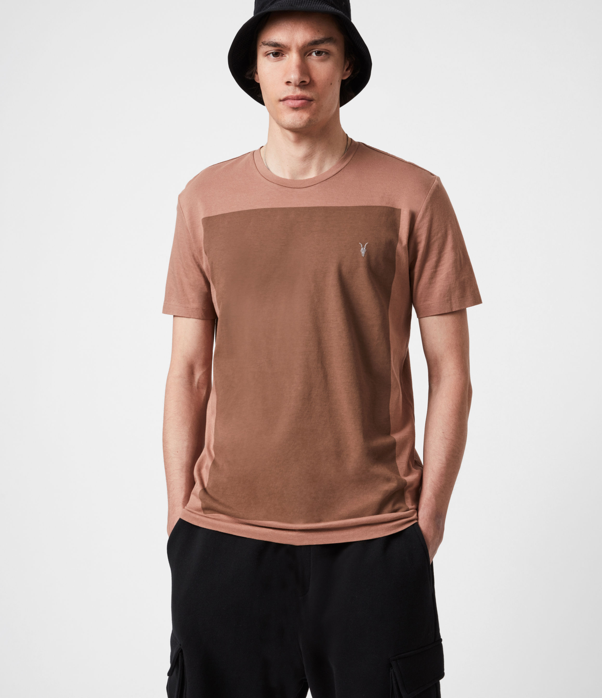 AllSaints Men's Lobke Crew T-Shirt, Sandstone/dusky BN, Size: XS