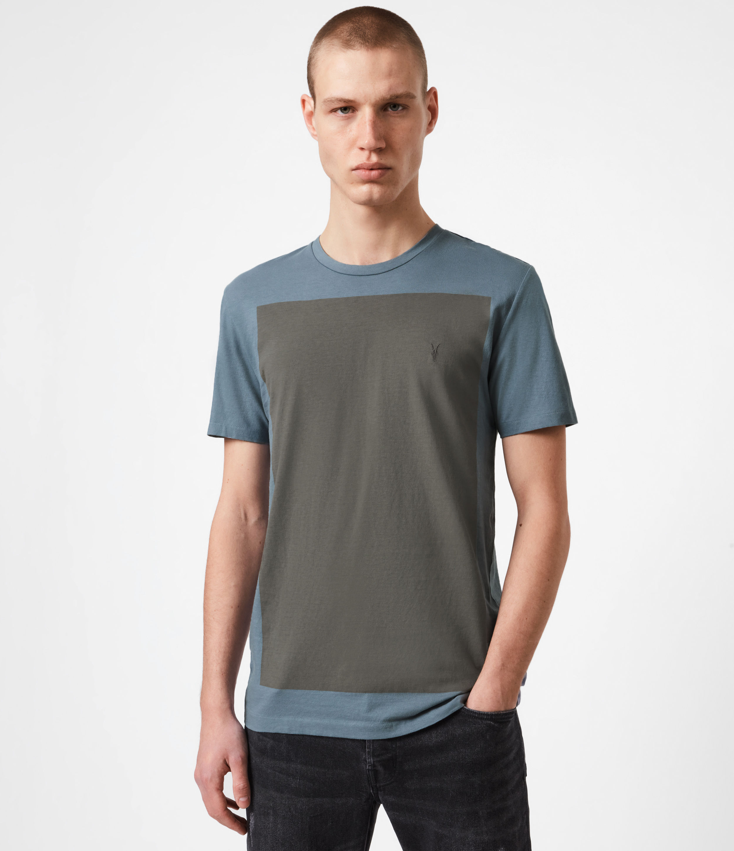 Allsaints Lobke Color Blocked Tee In Twilight/putty Gray
