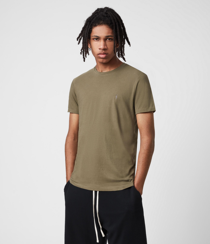 AllSaints Mens Tonic Crew T-Shirt, Saguaro Green, Size: XS