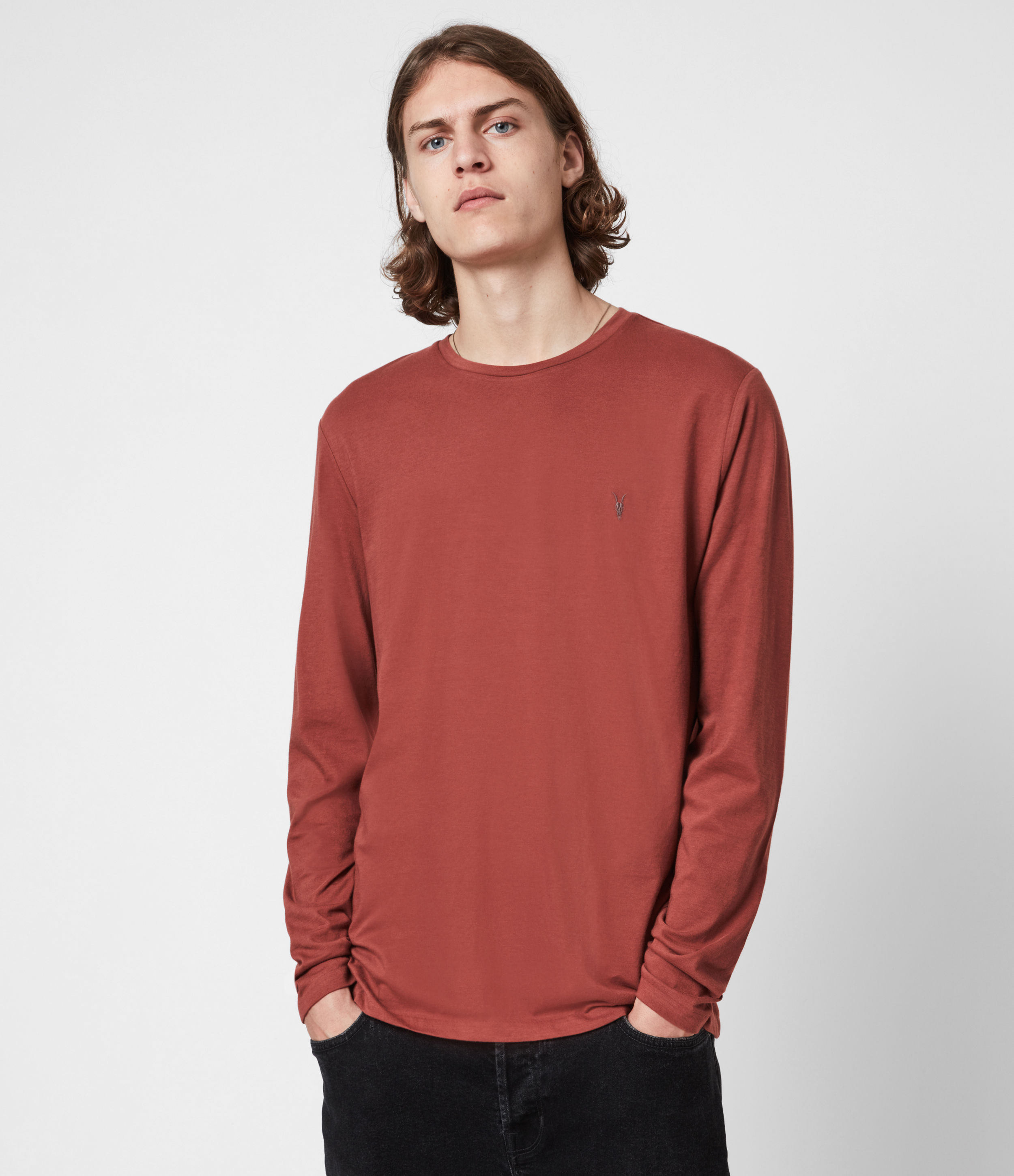 AllSaints Men's Tonic Long Sleeve Crew T-Shirt, Clay RED, Size: XS