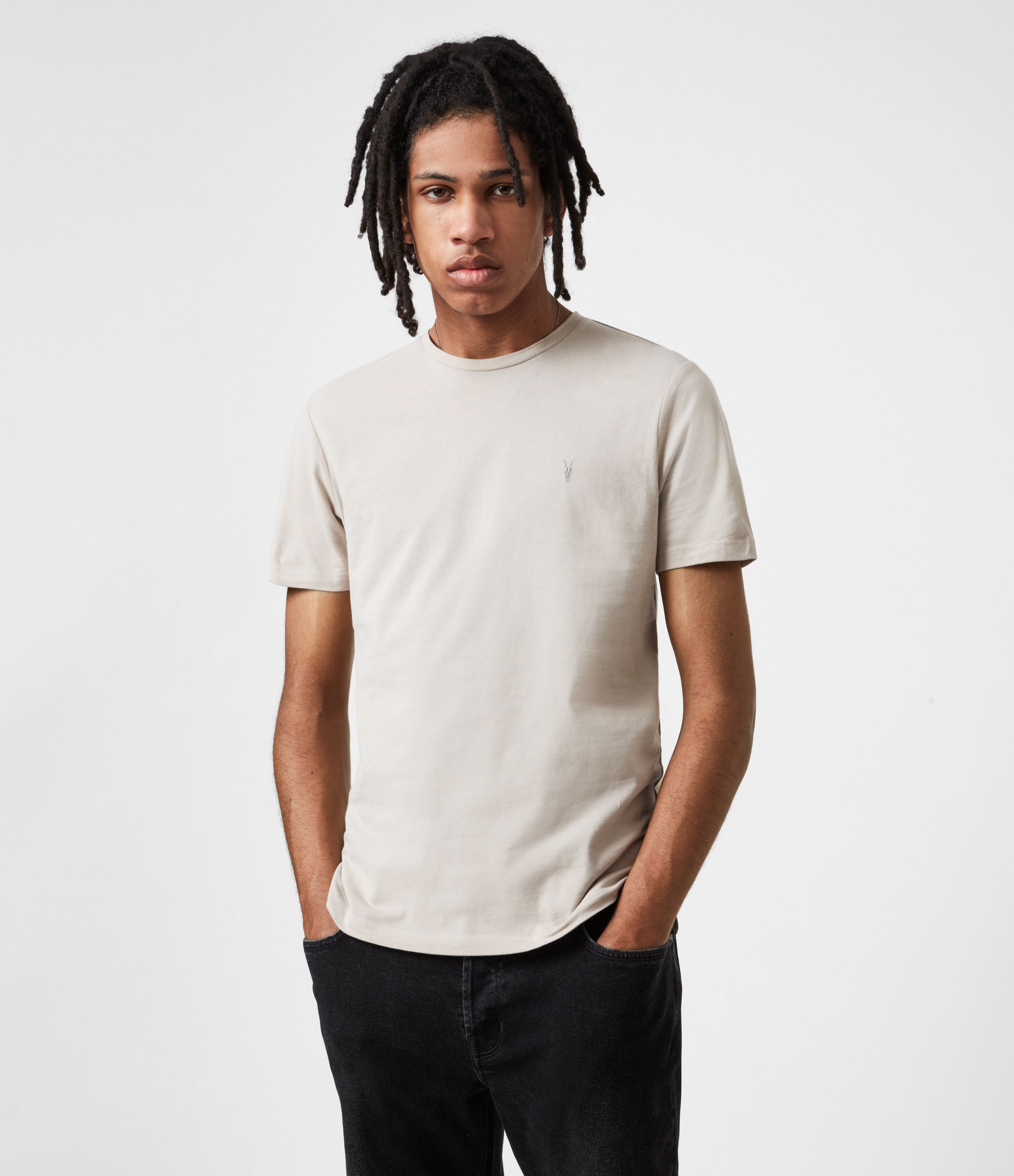 AllSaints Mens Brace Crew T-Shirt, Toasted Taupe, Size: XS