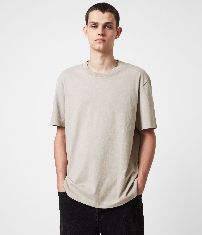 AllSaints Men's Musica Crew T-Shirt, Corazone Taupe, Size: XL