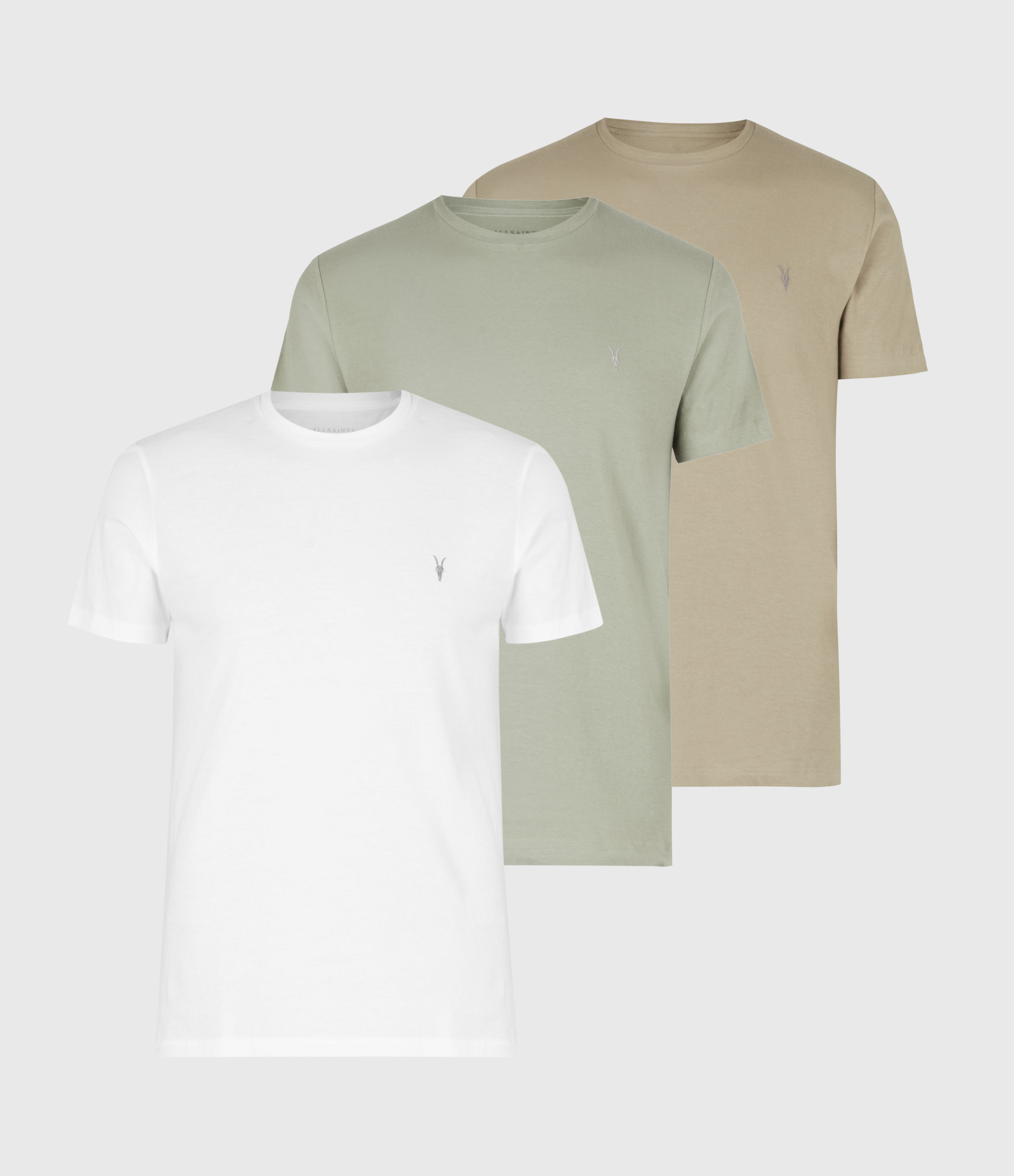 AllSaints Mens Tonic Crew 3 Pack T-Shirts, Optic/palm/agave G, Size: S