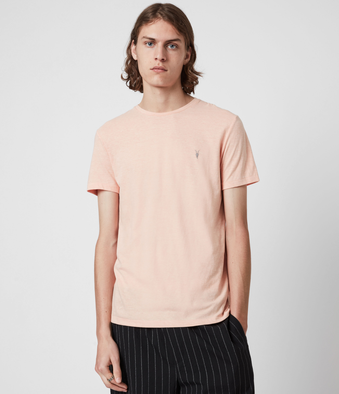 AllSaints Men's Tonic Crew T-Shirt, Blushing Pink Marl, Size: XS