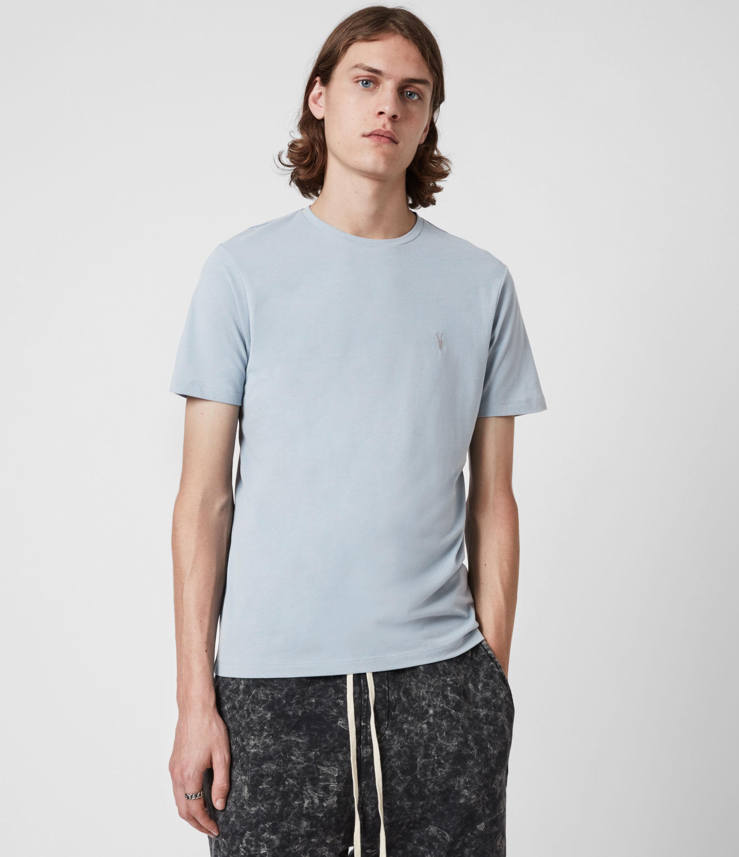 AllSaints Men's Brace Crew T-Shirt, Marina Blue Marl, Size: L