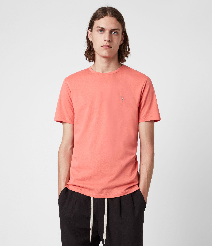AllSaints Men's Brace Crew T-Shirt, Grenadine Pink, Size: XS