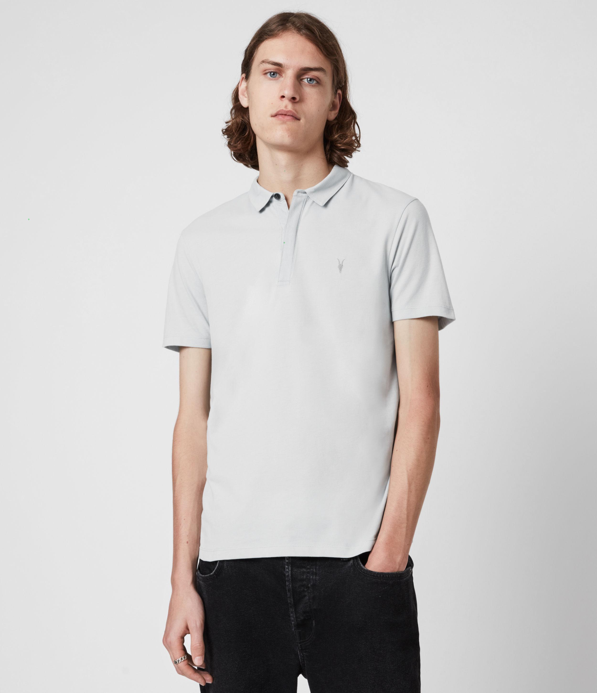 AllSaints Men's Brace Short Sleeve Polo Shirt, Breezy Blue Marl, Size: XS