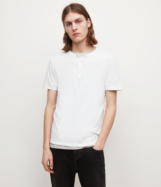 AllSaints Men's Figure Henley T-Shirt, Optic White, Size: XS