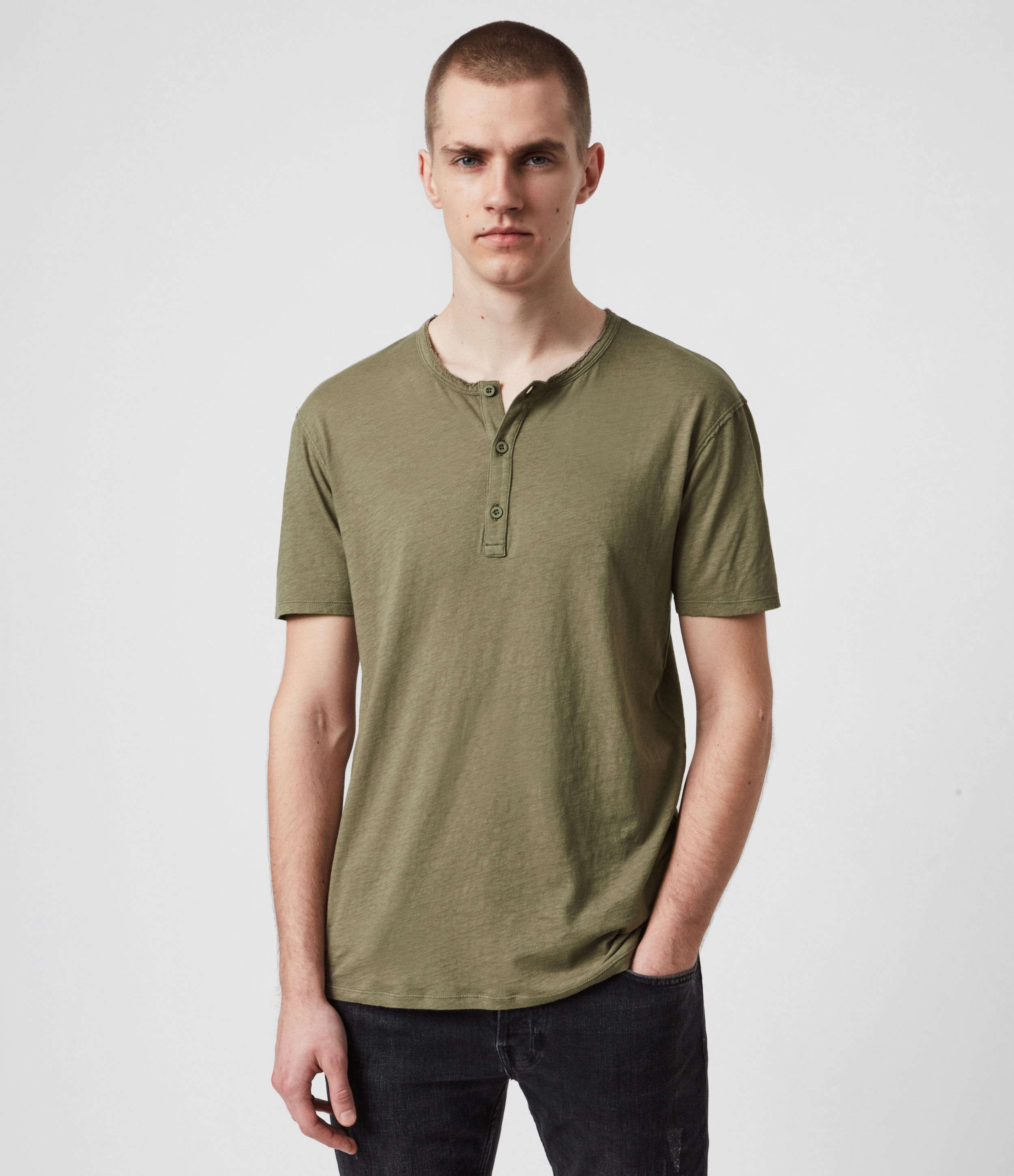 AllSaints Mens Figure Henley T-Shirt, Willow Taupe, Size: XS