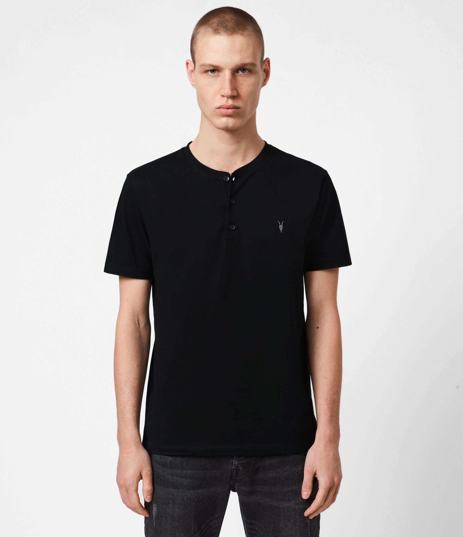 AllSaints Mens Brace Short Sleeve Henley, Jet Black, Size: M