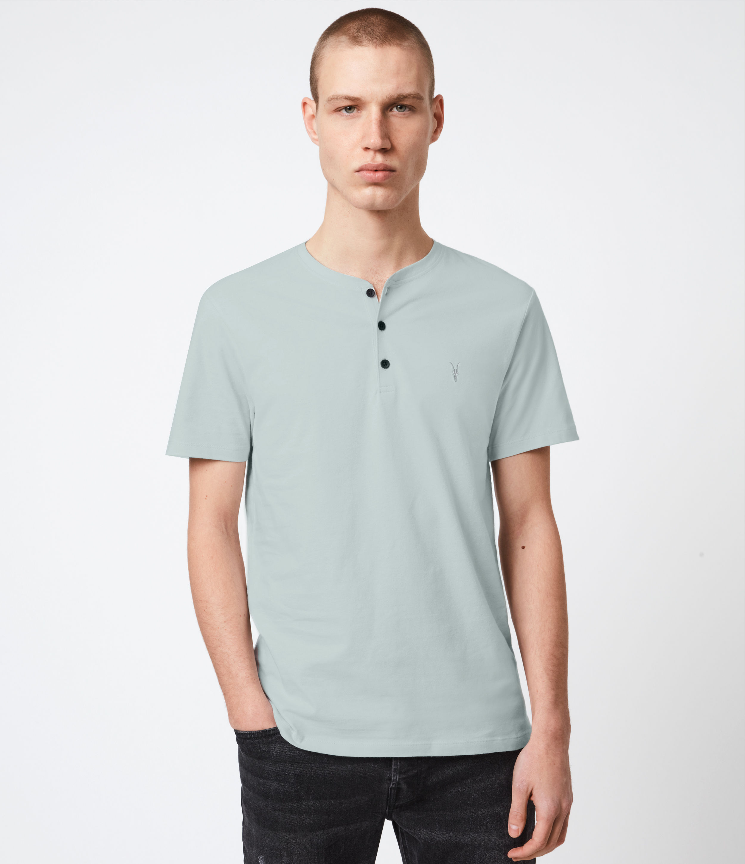 AllSaints Mens Brace Short Sleeve Henley, Seafoam Blue, Size: XXL