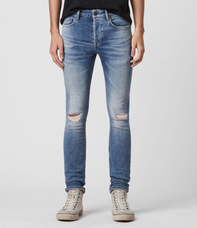 AllSaints Men's Cigarette Damaged Skinny Jeans, Blue, Size: 28