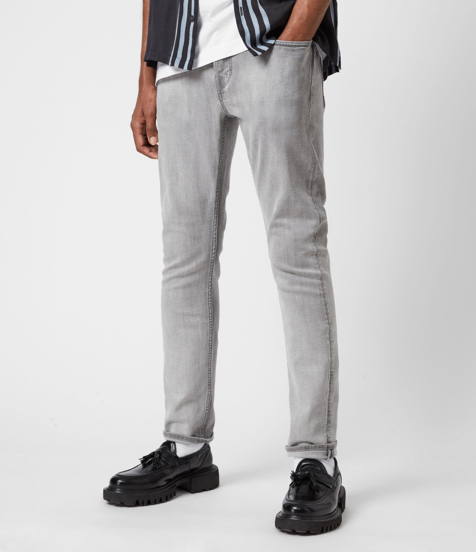 AllSaints Mens Cigarette Skinny Jeans, Light Grey, Size: 34