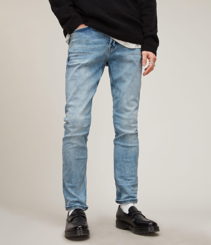 AllSaints Men's Cigarette Damaged Skinny Jeans, Light Indigo, Blue, Size: 28