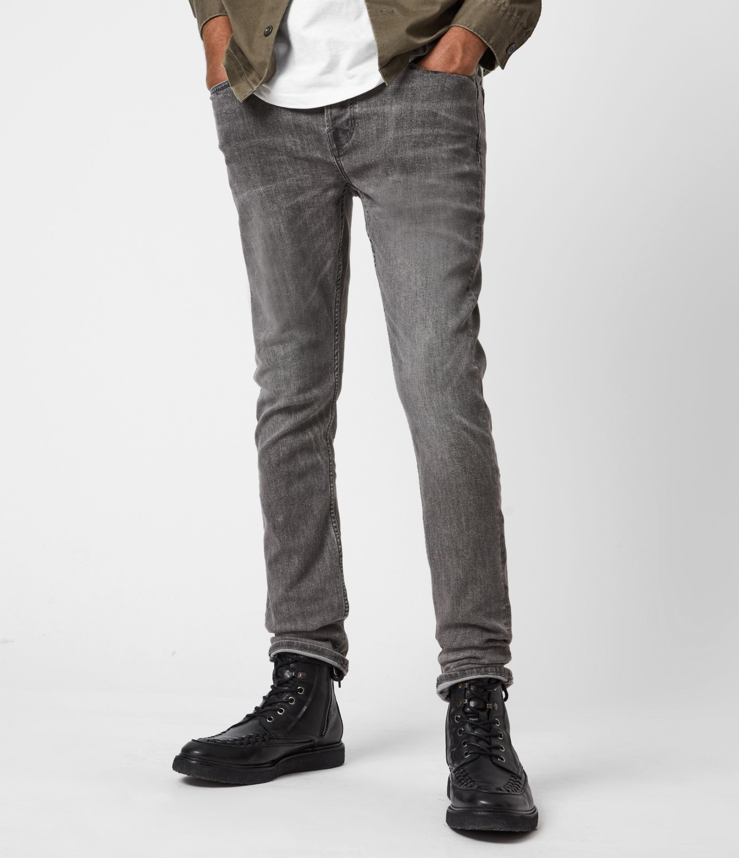 AllSaints Men's Cigarette Skinny Jeans, Dark Grey, Size: 30