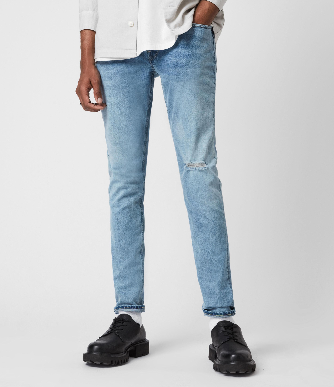 AllSaints Men's Cotton Rex Damaged Slim Jeans, Blue, Size: 38