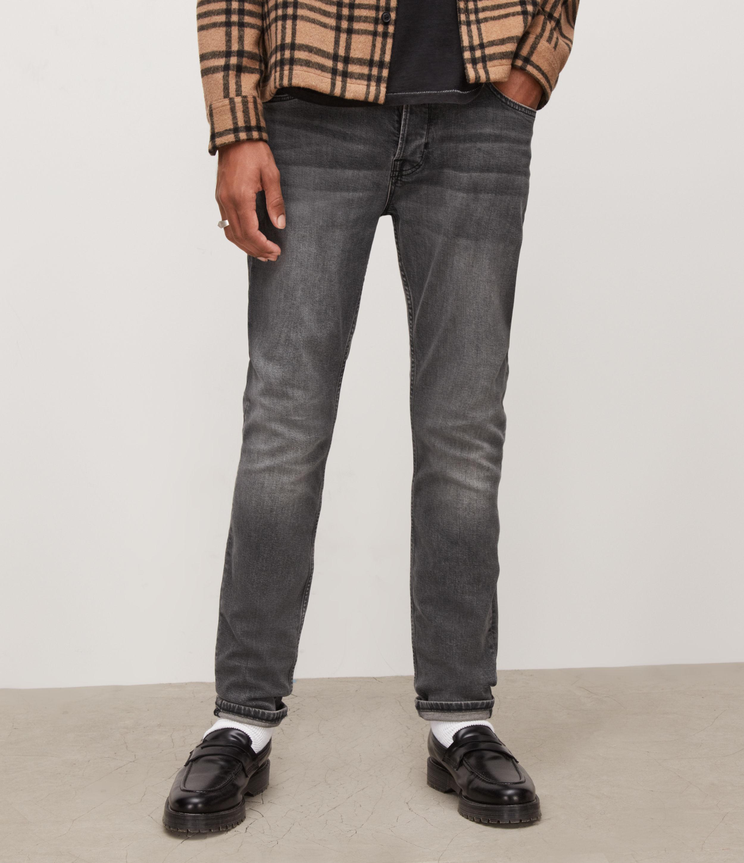 AllSaints Men's Cigarette Skinny Jeans, Washed Black, Size: 30