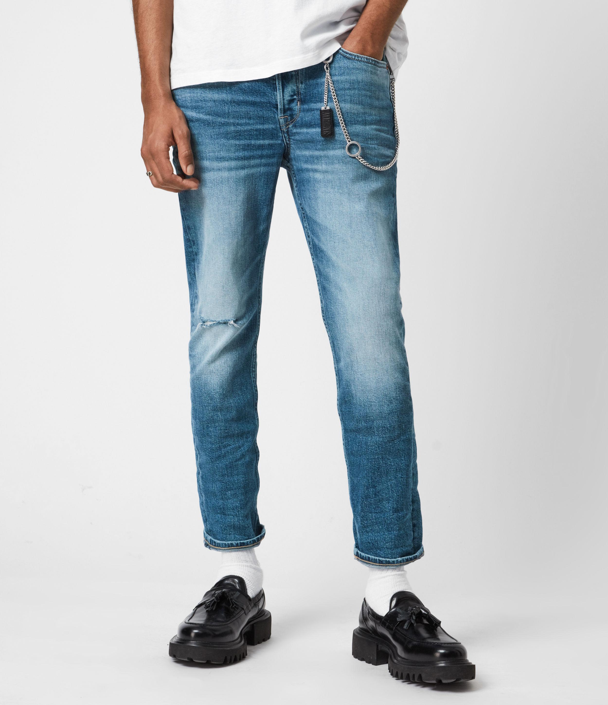 AllSaints Men's Dean Damaged Cropped Slim Jeans, Light Indigo, Size: 30
