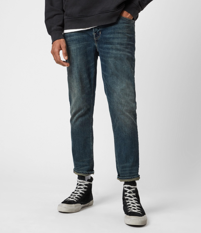 AllSaints Men's Cotton Traditional Dean Cropped Slim Jeans, Blue, Size: 28