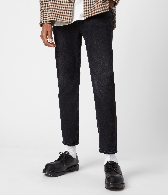 AllSaints Mens Jack Damaged Straight Jeans, Washed Black, Size: 38