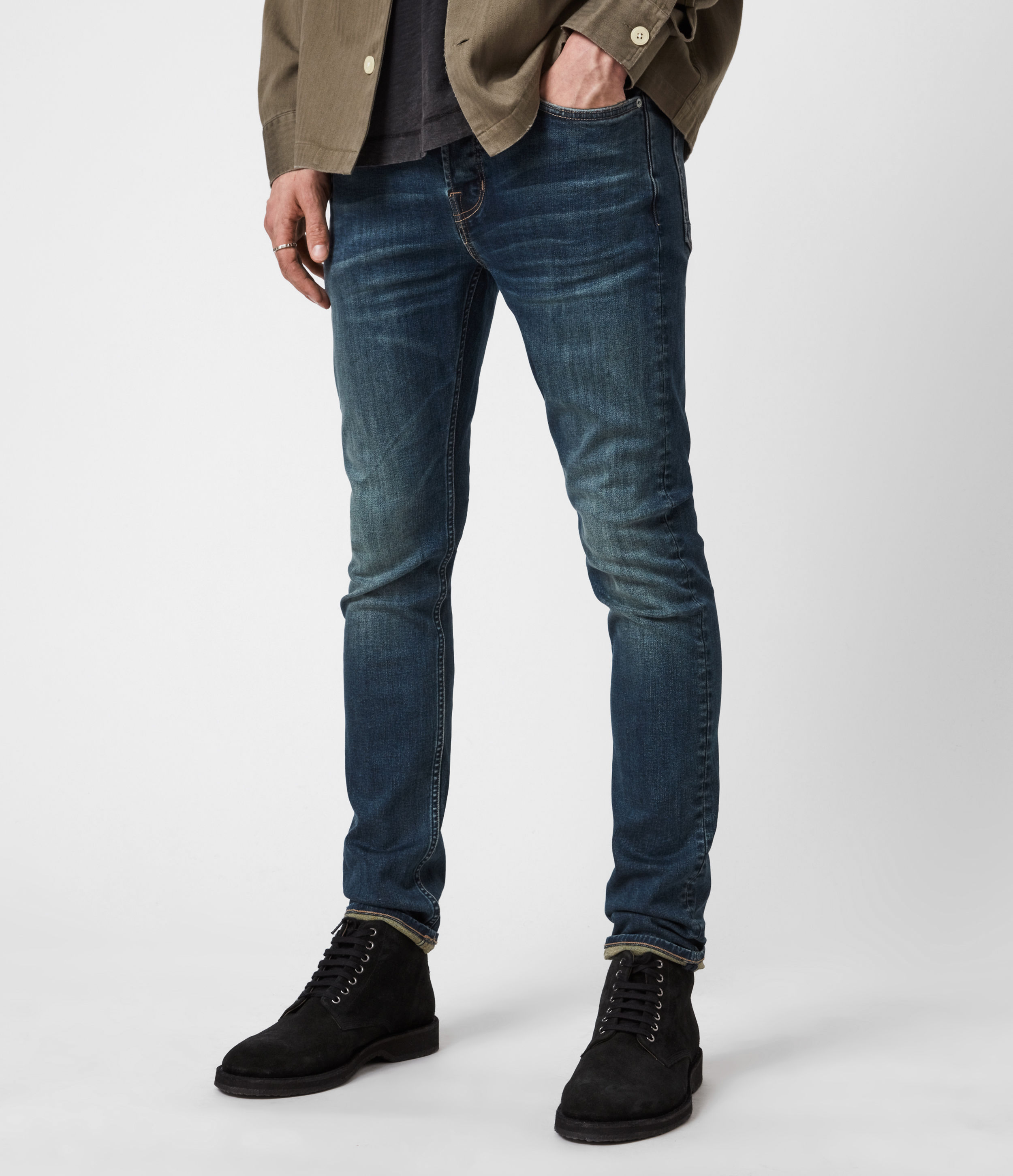 AllSaints Men's Cotton Traditional Ronnie Extra Skinny Jeans, Blue, Size: 32