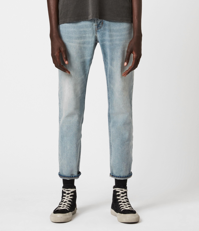 AllSaints Dean Cropped Slim Jeans, Light Indigo