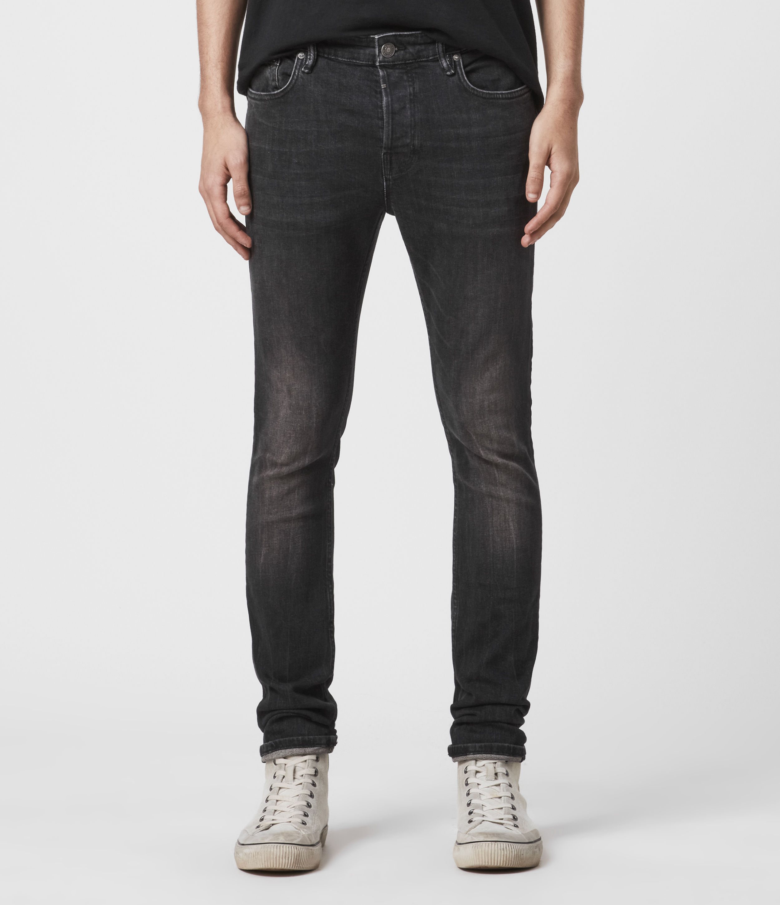 AllSaints Men's Cotton Cigarette Skinny Jeans, Black, Size: 30