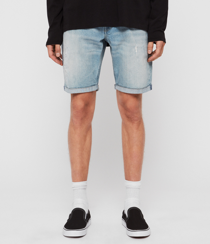 AllSaints Men's Cotton Lightweight Switch Denim Shorts, Blue, Size: 32