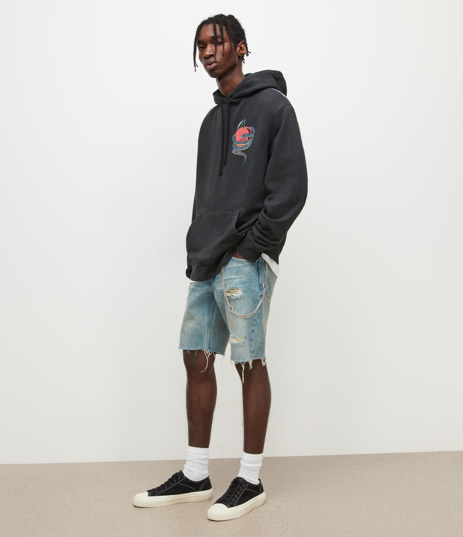 AllSaints Men's Switch Damaged Denim Shorts, Dirty Indigo, Size: 30