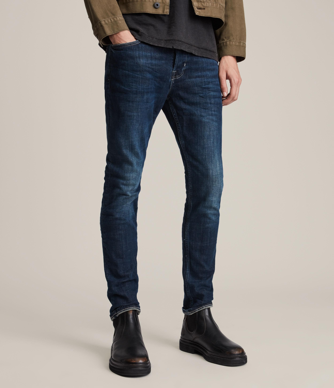 AllSaints Men's Cotton Traditional Cigarette Skinny Jeans, Blue, Size: 32