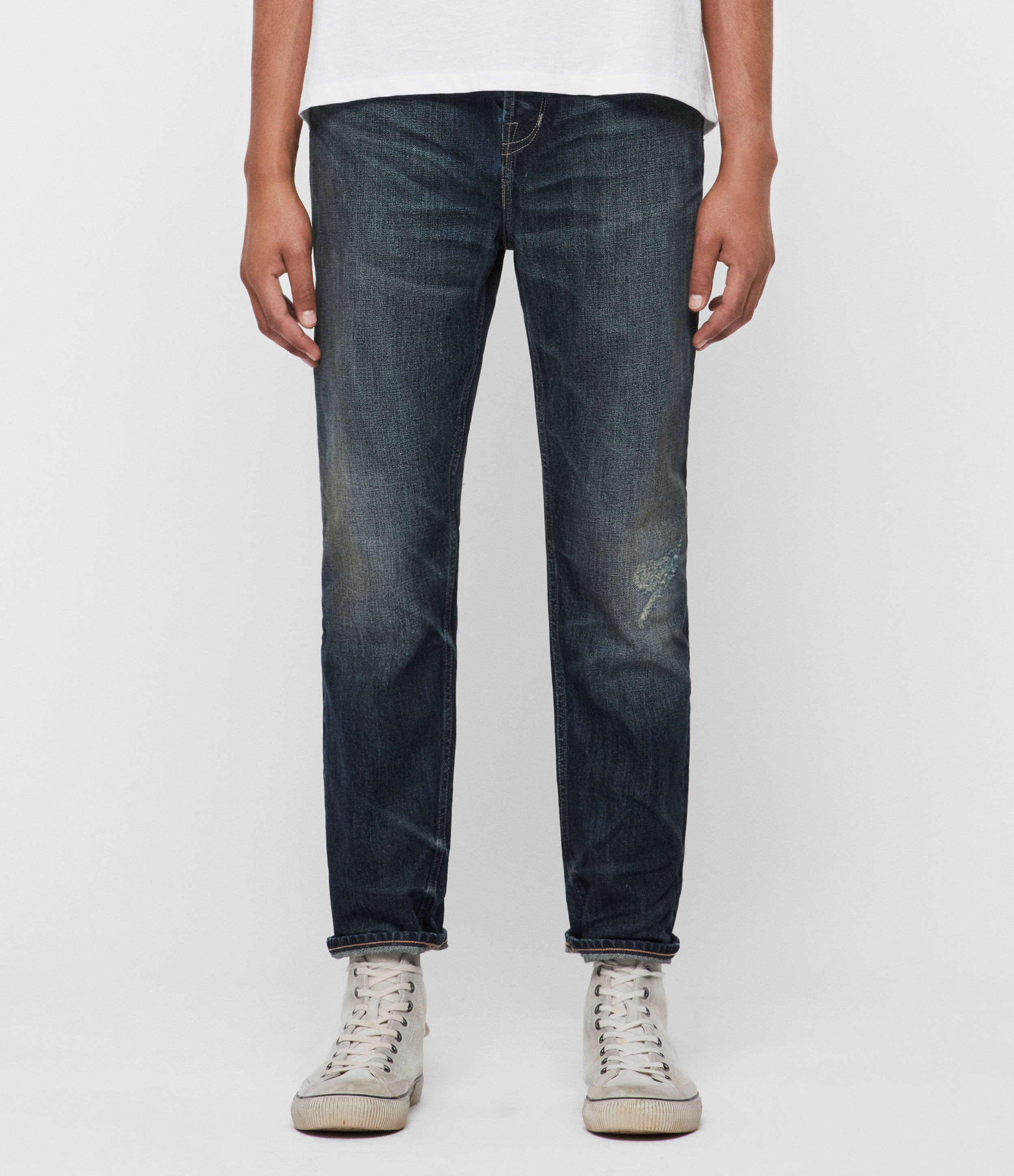 AllSaints Ridge Damaged Tapered Jeans, Indigo