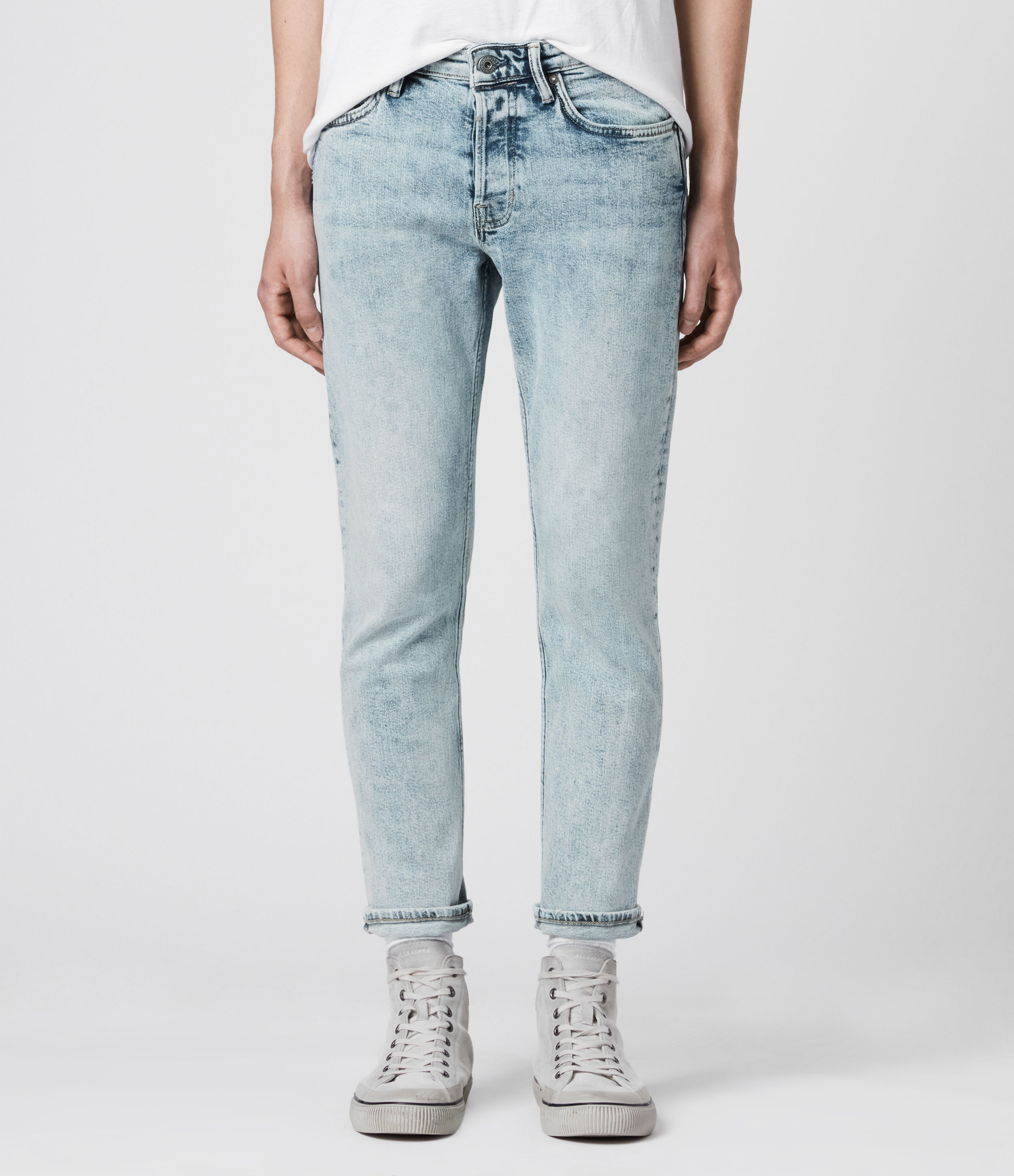 AllSaints Dean Cropped Slim Jeans, Light Indigo