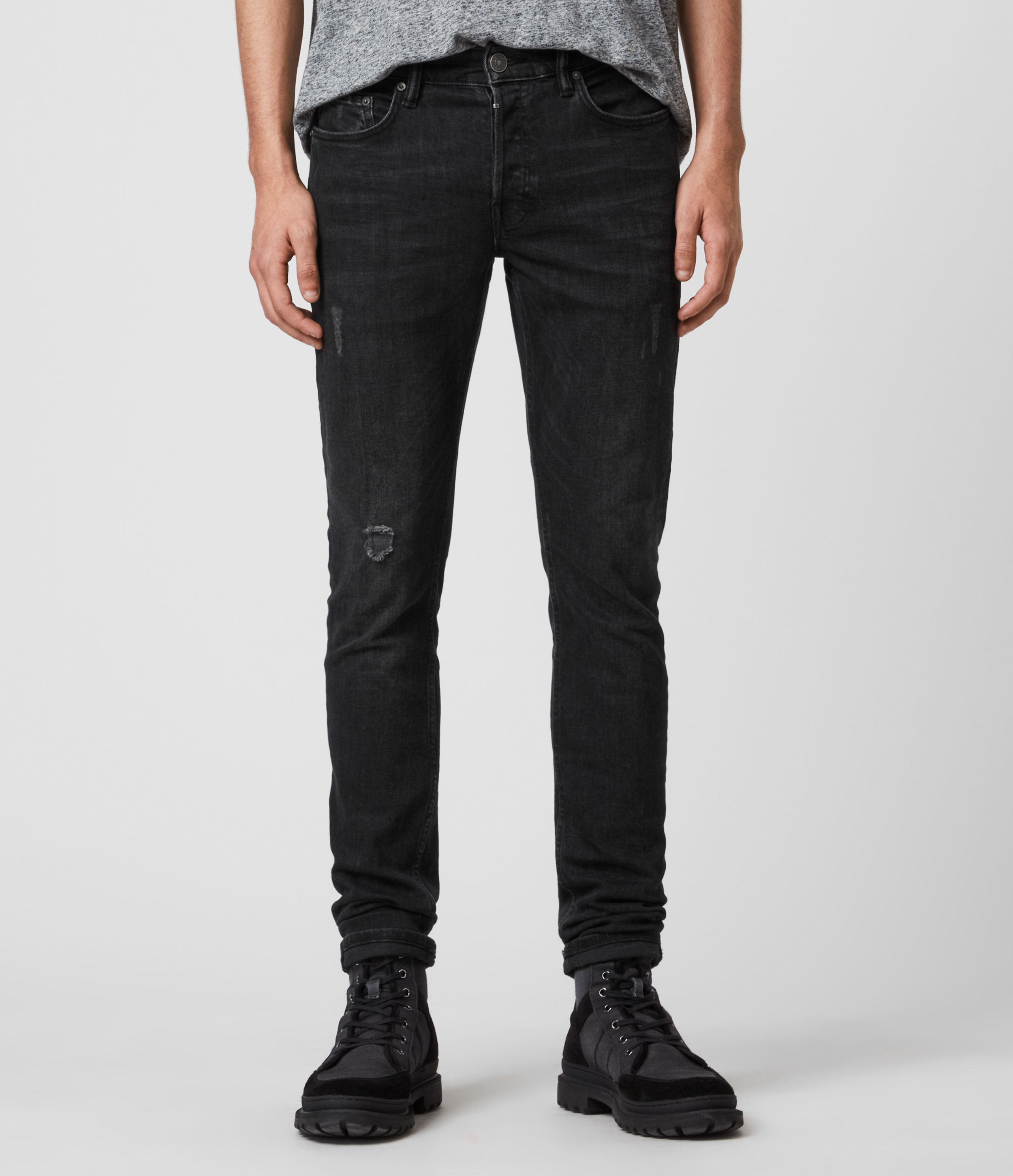 AllSaints Rex Slim Jeans, Washed Black