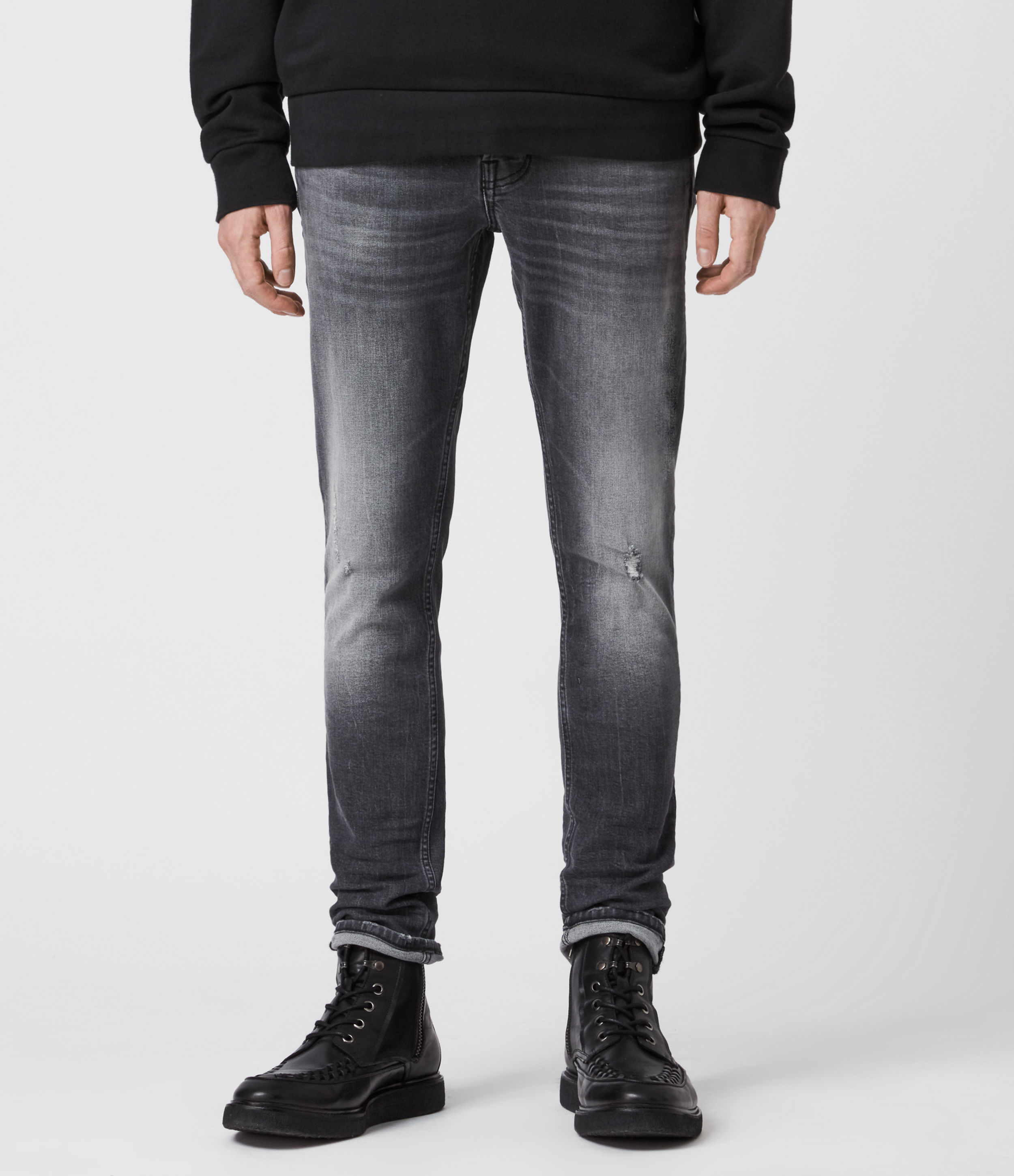 AllSaints Cigarette Damaged Skinny Jeans, Faded Black