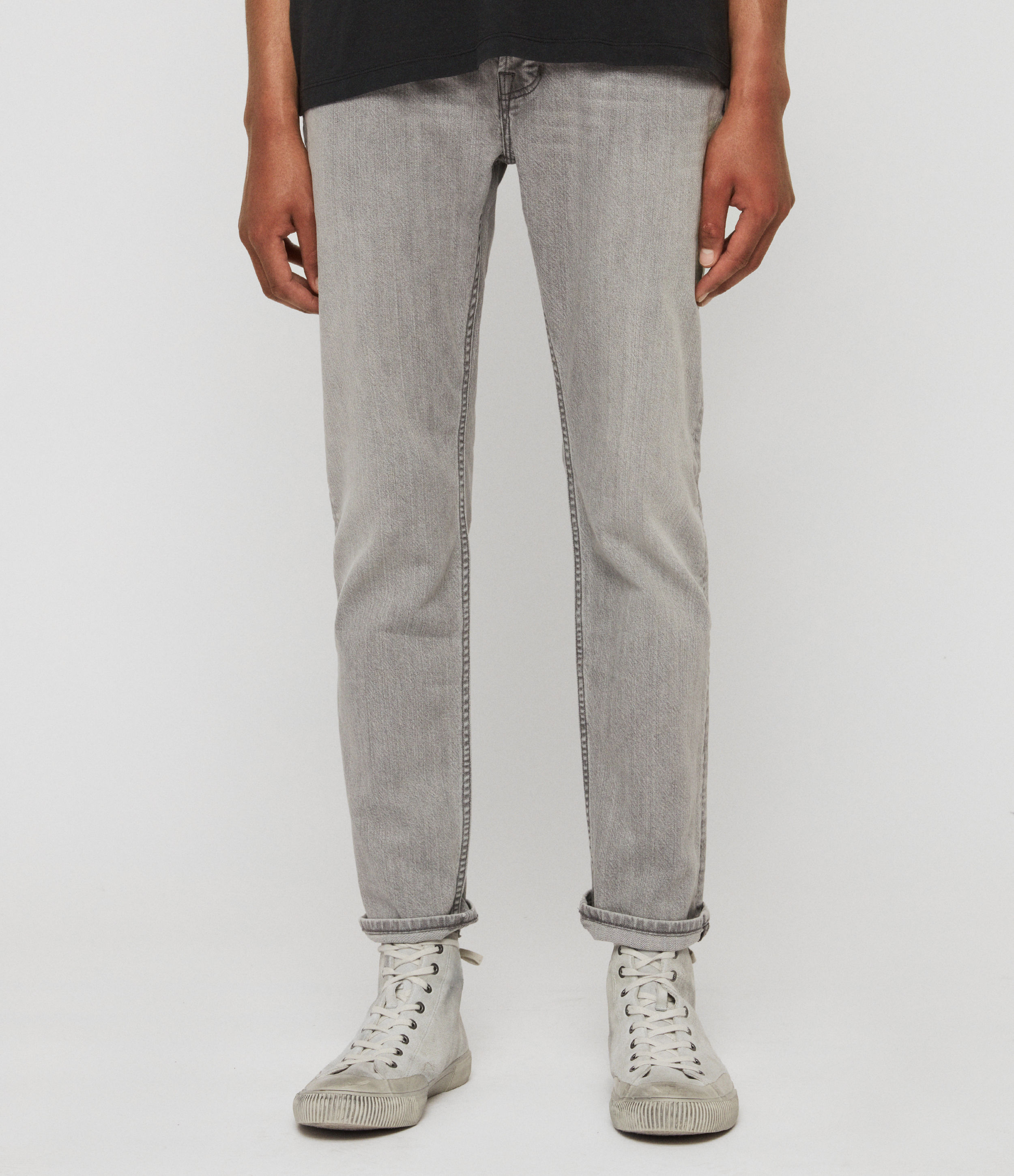 AllSaints Carter Straight Jeans, Mid Grey