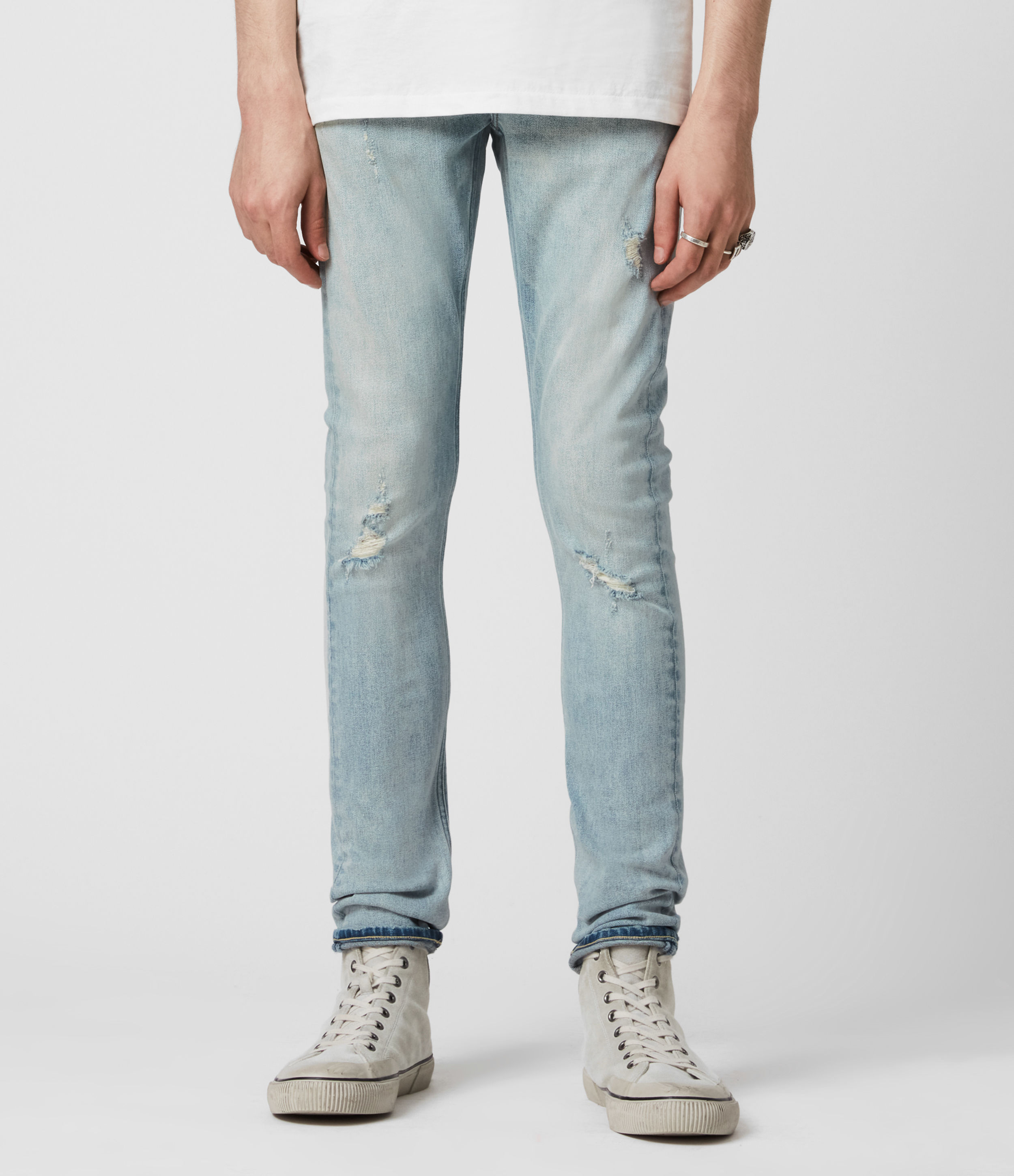 AllSaints Cigarette Damaged Skinny Jeans, Light Indigo