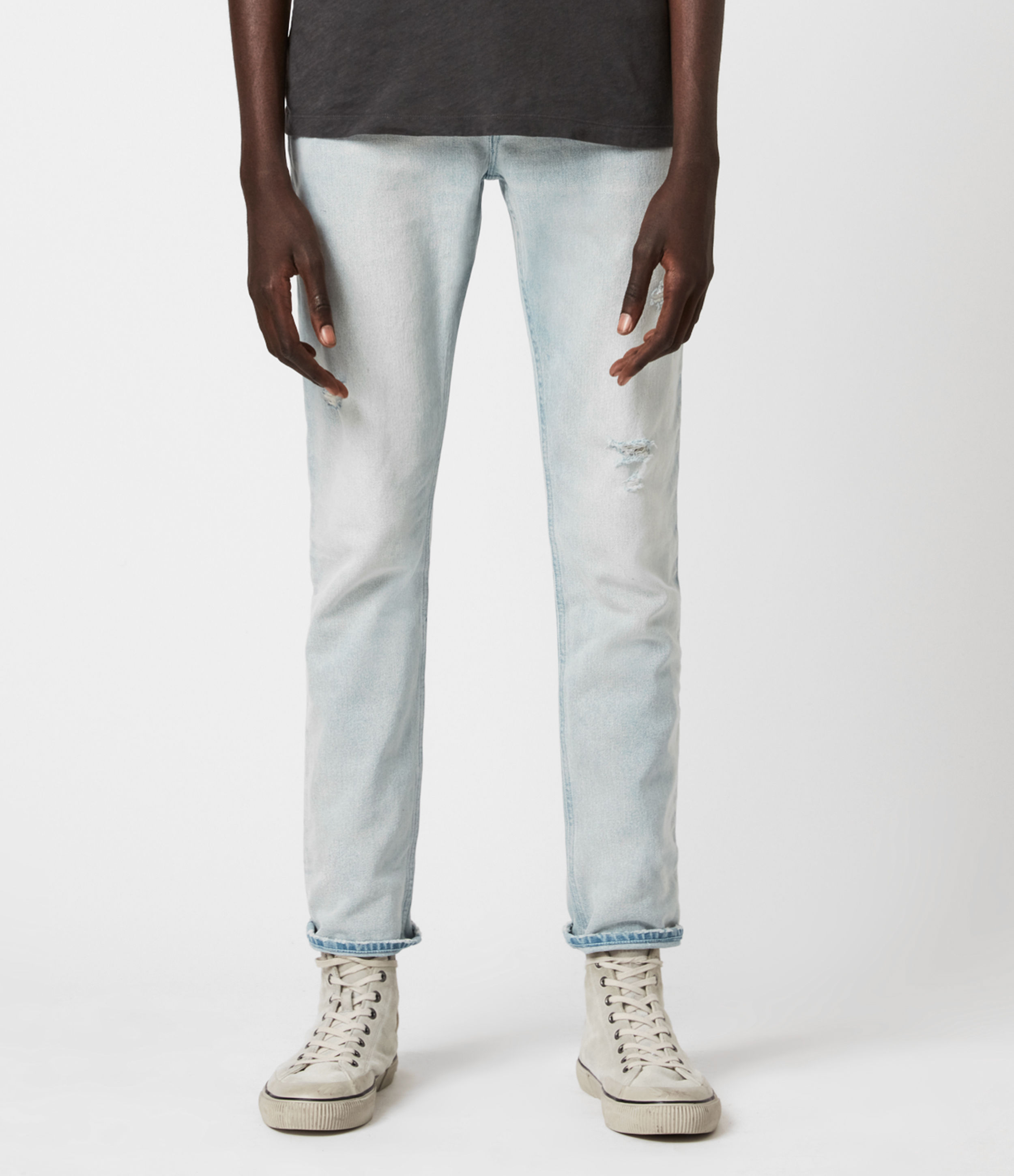 AllSaints Rex Damaged Slim Jeans, Light Indigo Blue