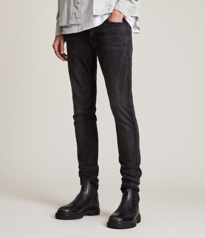 AllSaints Men's Cigarette Skinny Jeans, Washed Black, Size: 32/L32