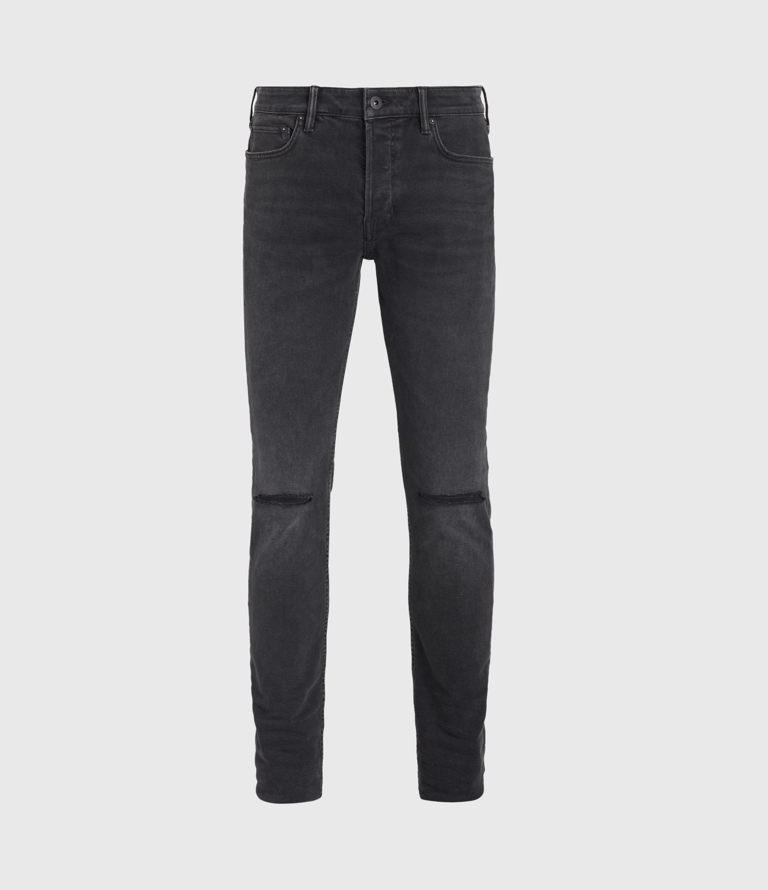 AllSaints Cigarette Damaged Skinny Jeans, Washed Black