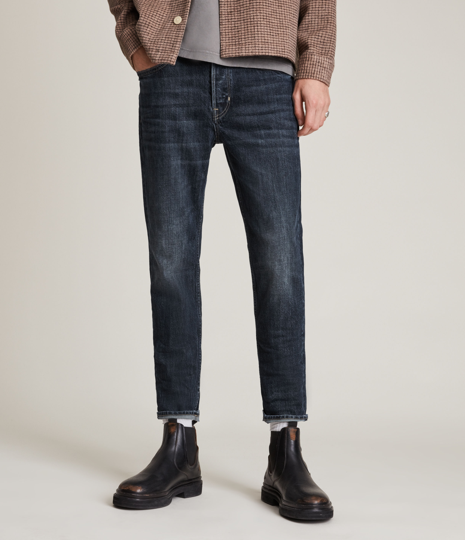 AllSaints Men's Jack Cropped Straight Jeans, Dark Indigo, Size: 28