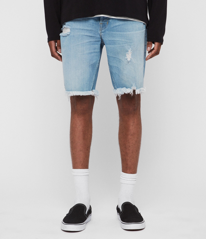 AllSaints Men's Switch Damaged Denim Shorts, Indigo Blue, Size: 30