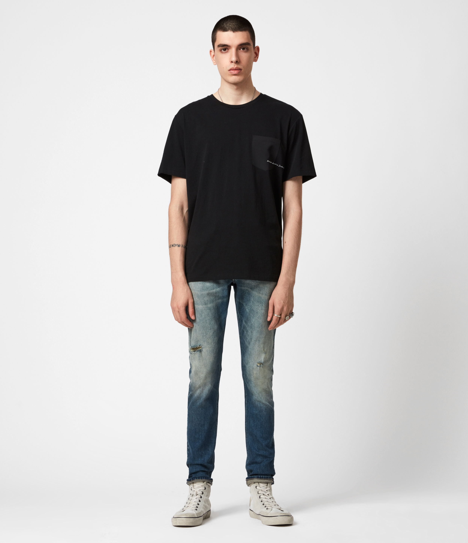 AllSaints Rex Damaged Slim Jeans, Grunge Indigo
