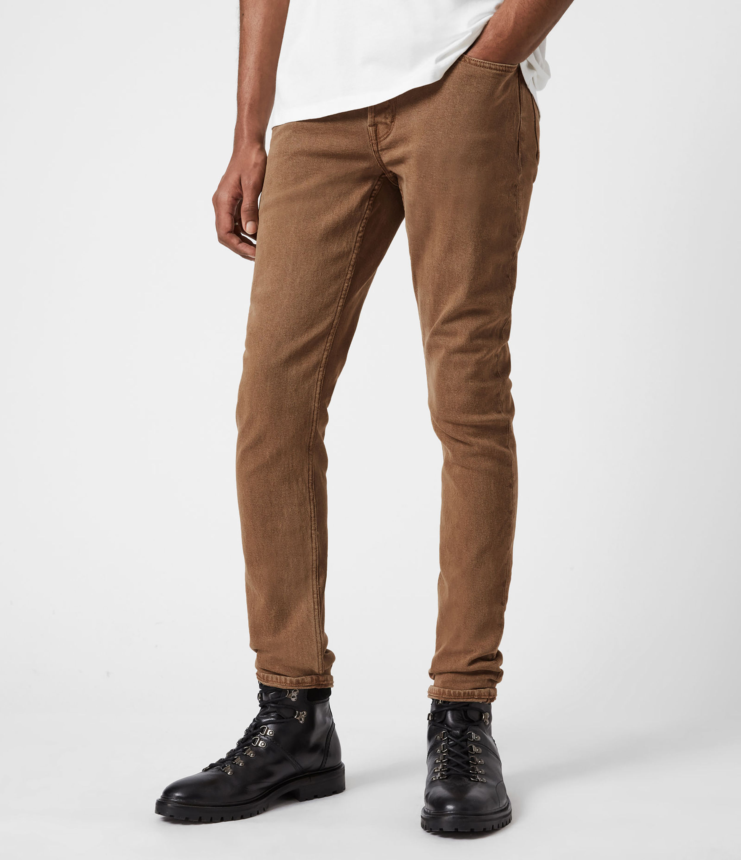 AllSaints Mens Rex Slim Jeans, Santo Brown, Size: 30