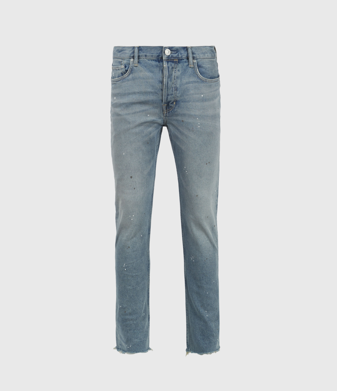 AllSaints Dean Damaged Slim Jeans, Mid Indigo