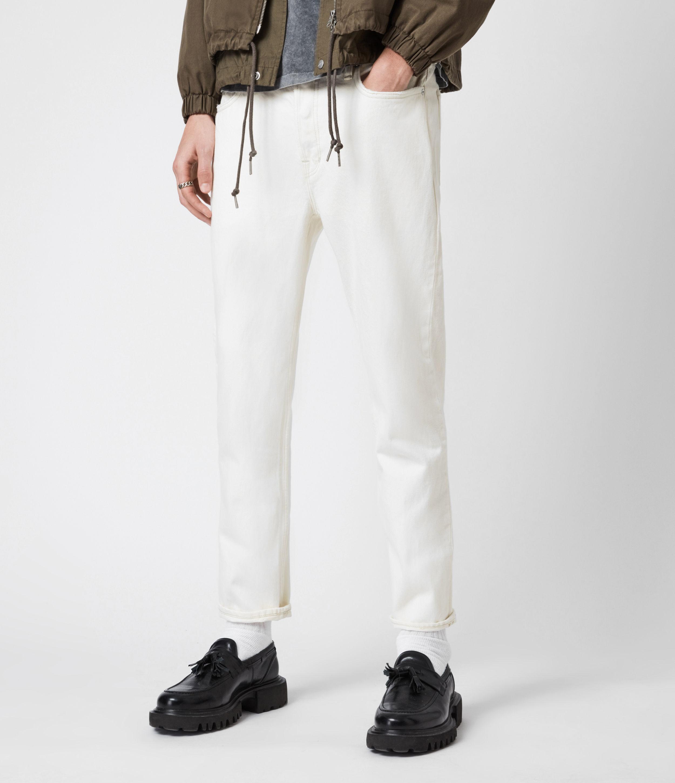 AllSaints Men's Jack Damaged Straight Jeans, Ecru, Size: 34