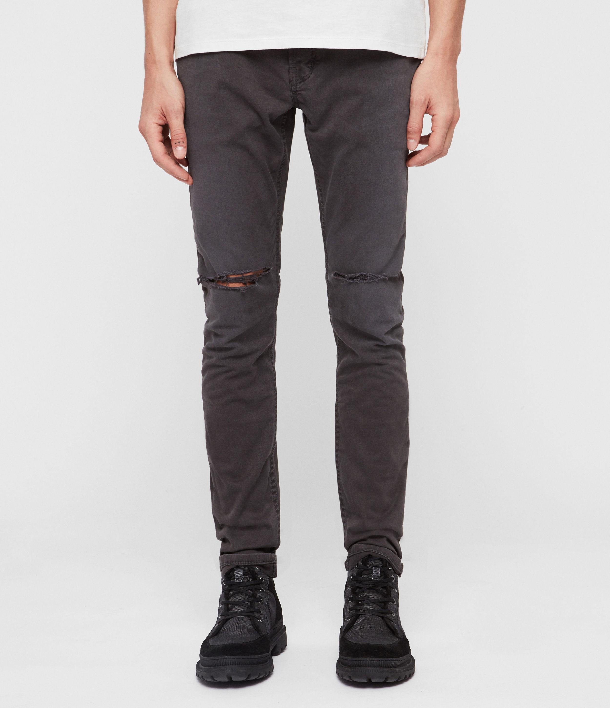 AllSaints Men's Cotton Traditional Rex Twill Damaged Slim Jeans, Grey, Size: 34