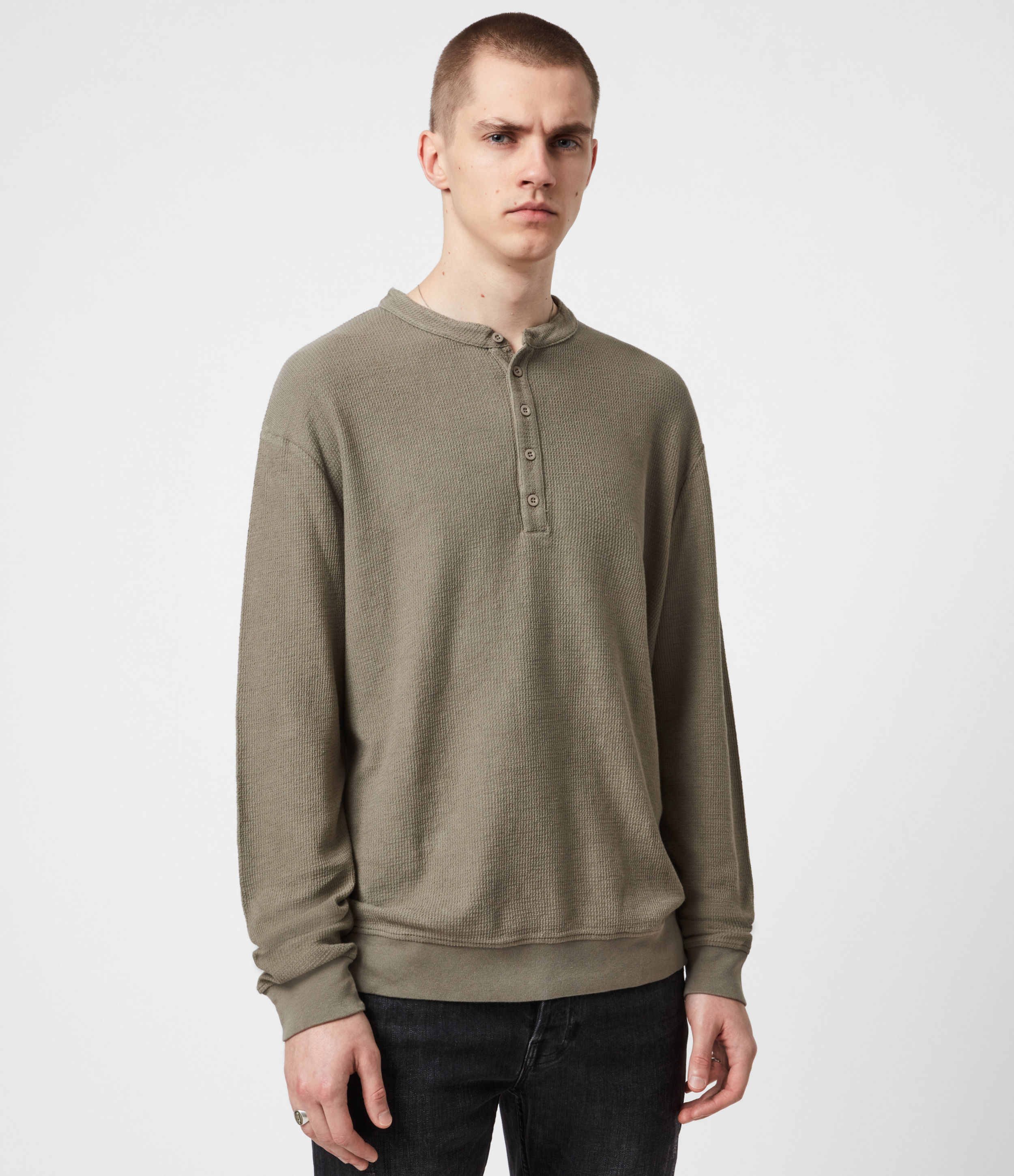 AllSaints Mens Wrenley Organic Cotton Henley, Willow Taupe, Size: S